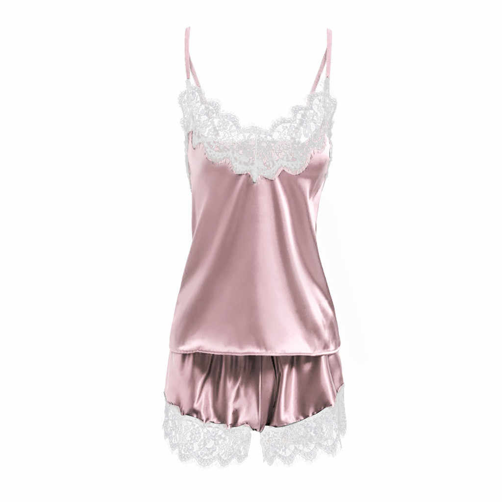 bf5328777d ... home suit shein women's pajamas sexy lingerie Satin Sling Sleepwear  Lingerie Lace Bowknot Nightdress Underwear set