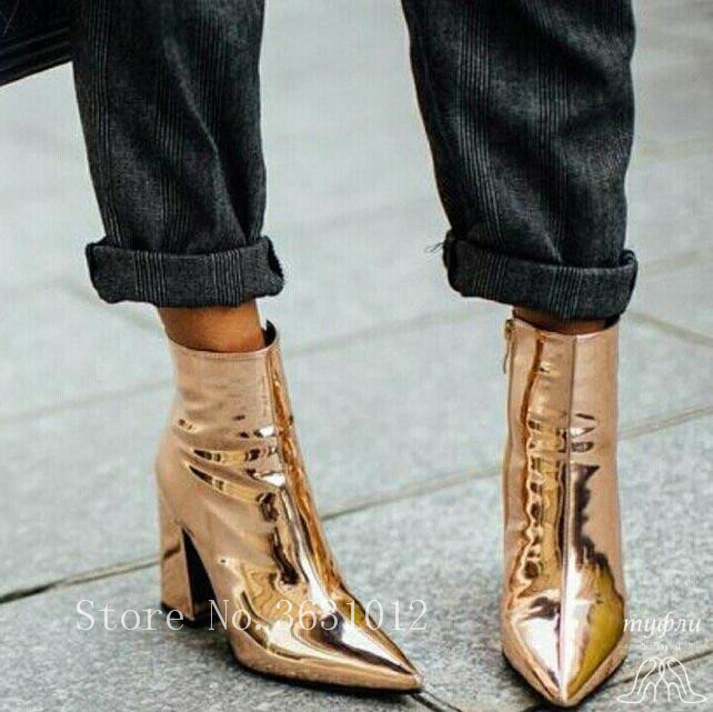 2018 Fashion Newest Metallic Patent Leather Bling Women Ankle Boots Side Zipper Chunky Heels Pointed Toe Shoes Woman Runway цена