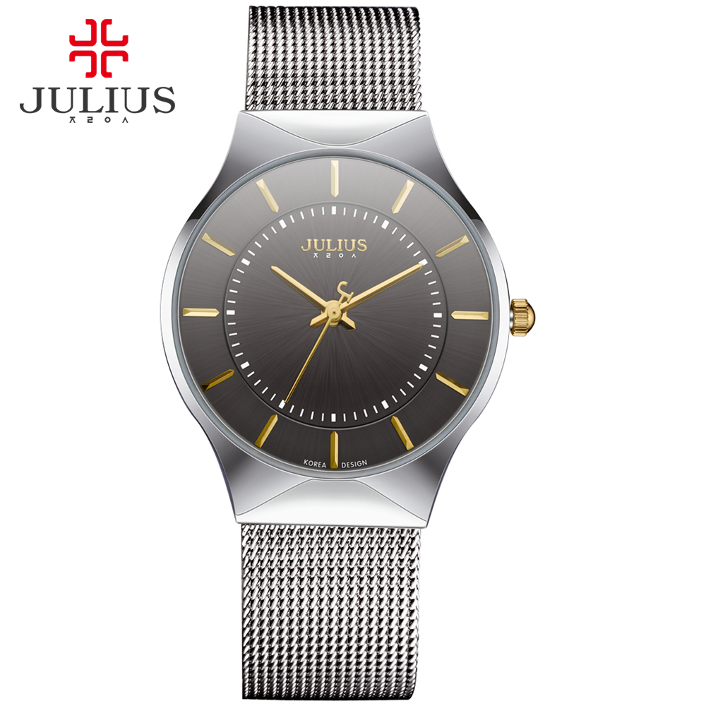 JULIUS Mode Casual Luxury Watch Topp Märkeslogo Mäns Watch Silver Svart Ultra Tunn Mesh Full Steel Quartz Vattentät JA-577