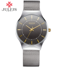 JULIUS Fashion Casual Luxury Watch Top Brand Logo Men's Watch Silver Black Ultra Thin Mesh Full Steel Quartz Waterproof JA-577