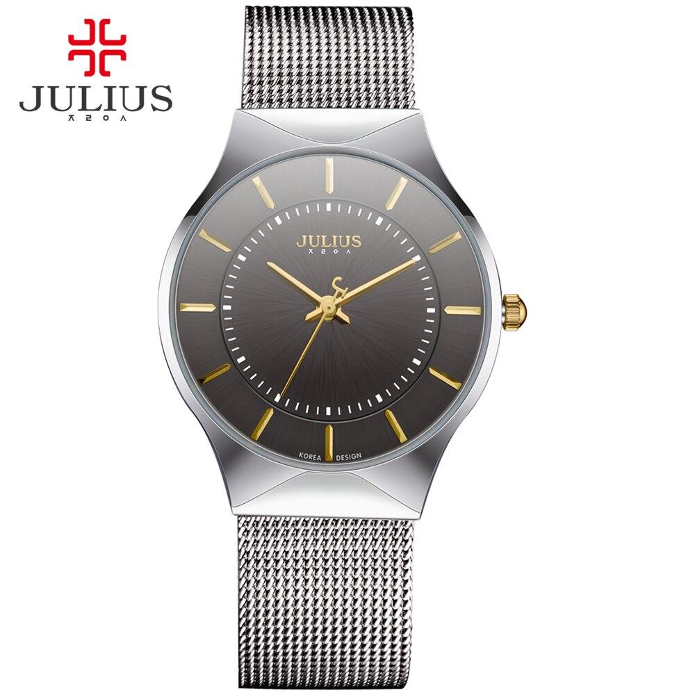 437d67967f6 JULIUS Moda Luxo Casual Relógio Marca de Topo Relógio de Prata dos homens  do Logotipo Black Ultra Fina Malha Completa de Quartzo de Aço À Prova D   Água JA ...