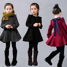 JENYA Winter Girls Dress Thicken Girls Warm Cotton A-Letter Dress Kids Cute Style Bow Comfortable Material Big Peplum Dress
