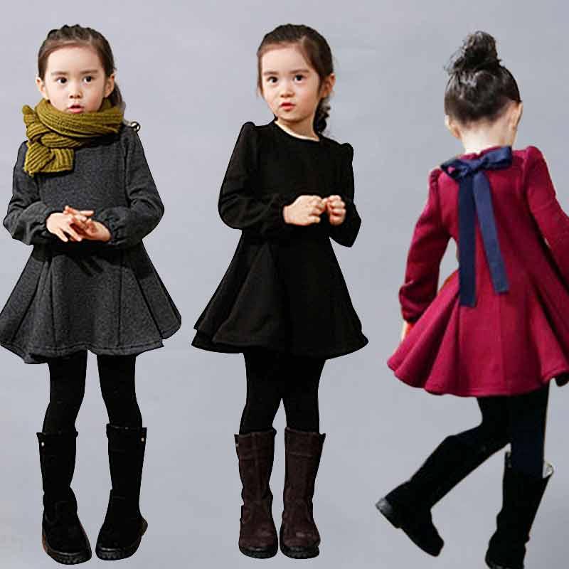JENYA Winter Girls Dress Thicken Girls Warm Cotton A-Letter Dress Kids Cute Style Bow Comfortable Material Big Peplum Dress