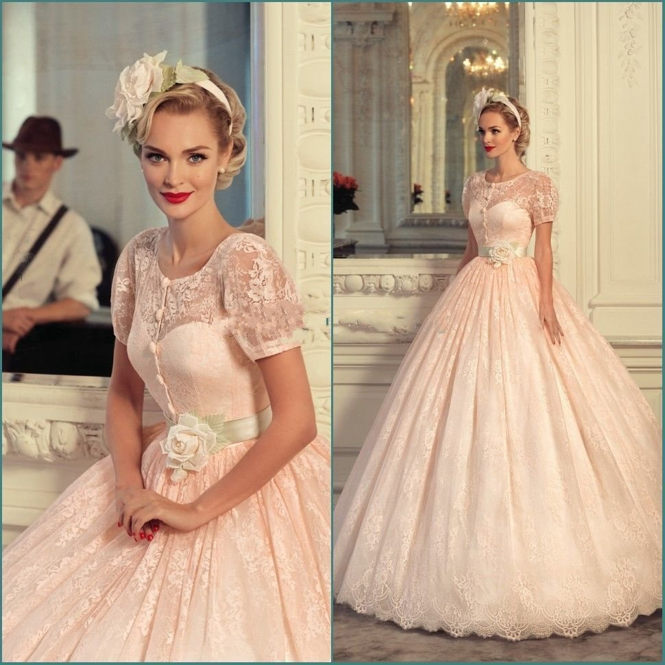 robe de marie plus size lace blush pink wedding dresses vintage 2017 peach short sleeves vestido de novia sweep train