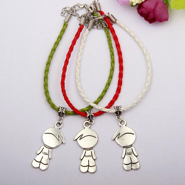 50pcs Zinc Alloy Silver Cute Boy Charms Multicolor Braided Rope Protection Good Luck Bracelets Diy Jewelry