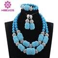 Cielo Azul nigeriano Boda Africana de Coral Perlas Joyería fija Nupcial/Mujeres Collar de Perlas de Set Envío Libre CJ871