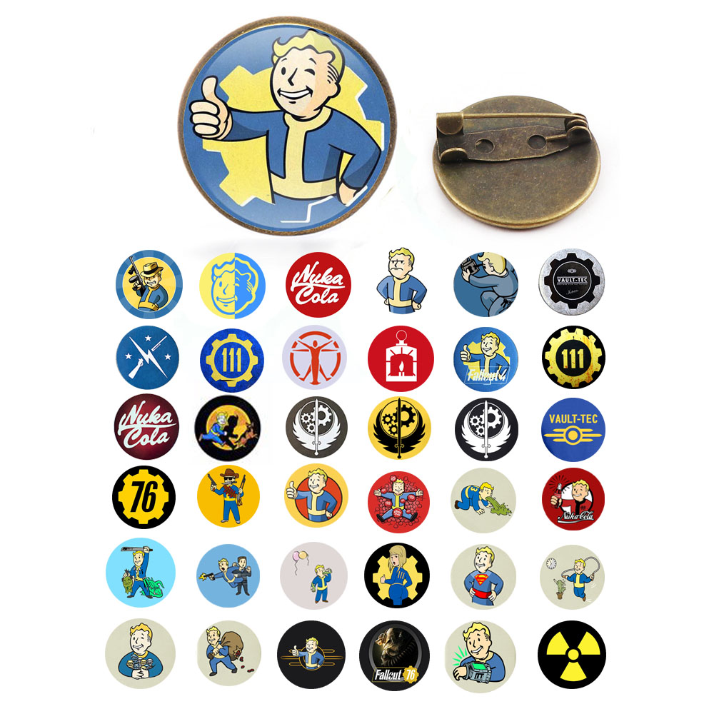 2019 New Style Fallout Shelter Brooch Pin Game Photo Brooches Bronze Silver Round Pins Handmade Glass Dome Handmade Jewelry image