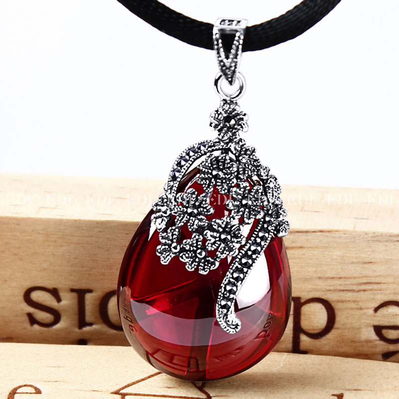 Edi 4623cm flower shape gemstone garnet pendants 925 sterling edi 4623cm flower shape gemstone garnet pendants 925 sterling silver natural chalcedony necklace for women jewelry in pendants from jewelry accessories aloadofball Image collections
