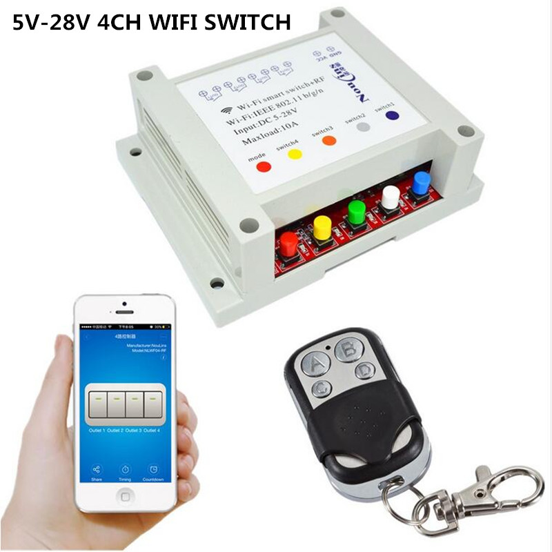 4ch wifi switch smart remote control light relay 5v 12v 24v timer module rf 433mhz wireless. Black Bedroom Furniture Sets. Home Design Ideas
