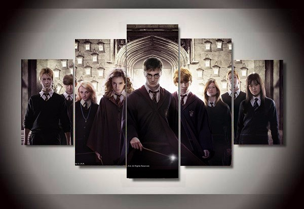 TV poster 5 Panel Magic Students Harry Potter Painting Canvas Wall Art Picture Home Decoration Living Room Canvas Printed