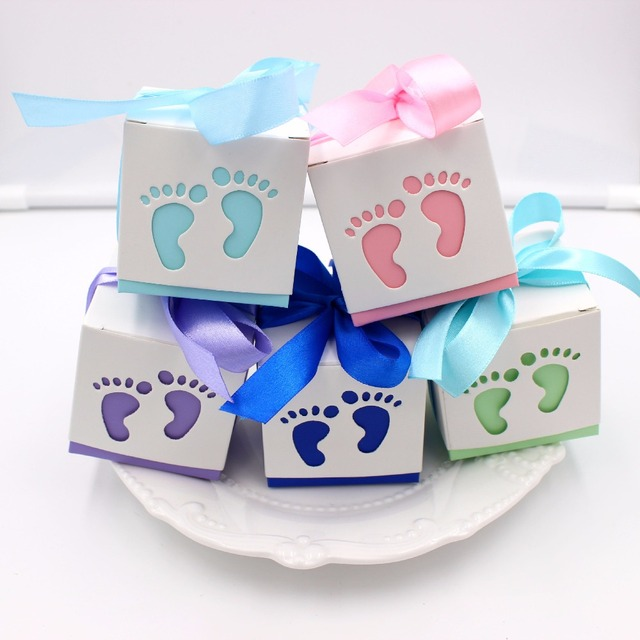 50pcs Blue Pink Baby Shower Favor Boxes Candy Box Baby Foot Birthday Party  Favors And Gifts Pack Box Chocolates Box