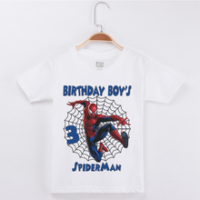 New Arrivals Children Birthday Boys T Shirt Designs printing Spiderman Fashion Cotton Happy Party Boy Clothes Kids Tees Tops