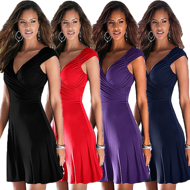2018 Ladies Fashion V Neck Sexy Sleeveless Dess Female Soliid Color Summer Dress Womens Sexy Club Dress