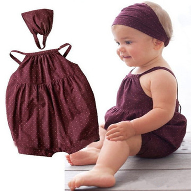 Infant Baby Girls Sets Newborn Summer Sleeveless Clothes Sling Climbing Suit Toddler Dot Pattern Romper+Headband 2 PCS Clothing