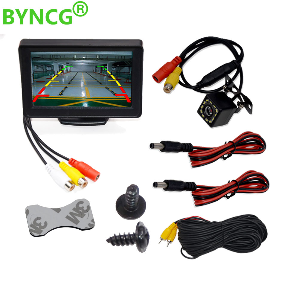 """BYNCG 4.3"""" Car Rearview Mirror Monitor Auto Parking System + LED Night Vision Backup Reverse Camera CCD Car Rear View Camera"""