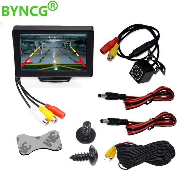 """BYNCG 4,3 """"espejo retrovisor del coche Monitor de aparcamiento Sistema de LED de la visión nocturna de la Cámara de reversa CCD coche trasero cámara de vista"""