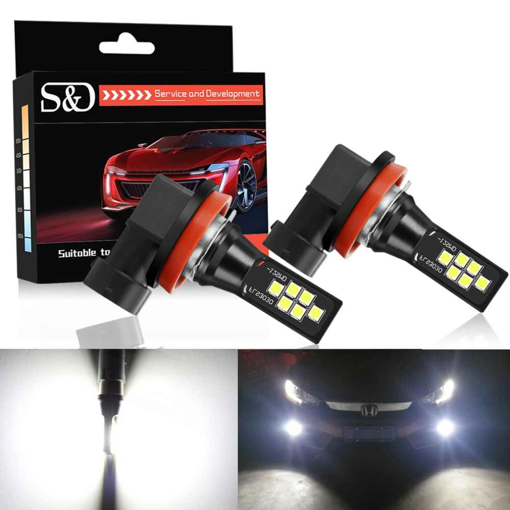 2pcs H11 H8 LED 9005 HB3 HB4 9006 LED Fog Light Bulbs Car Running Lights 3030 Chips Auto Driving Lamp 12V 6000K White