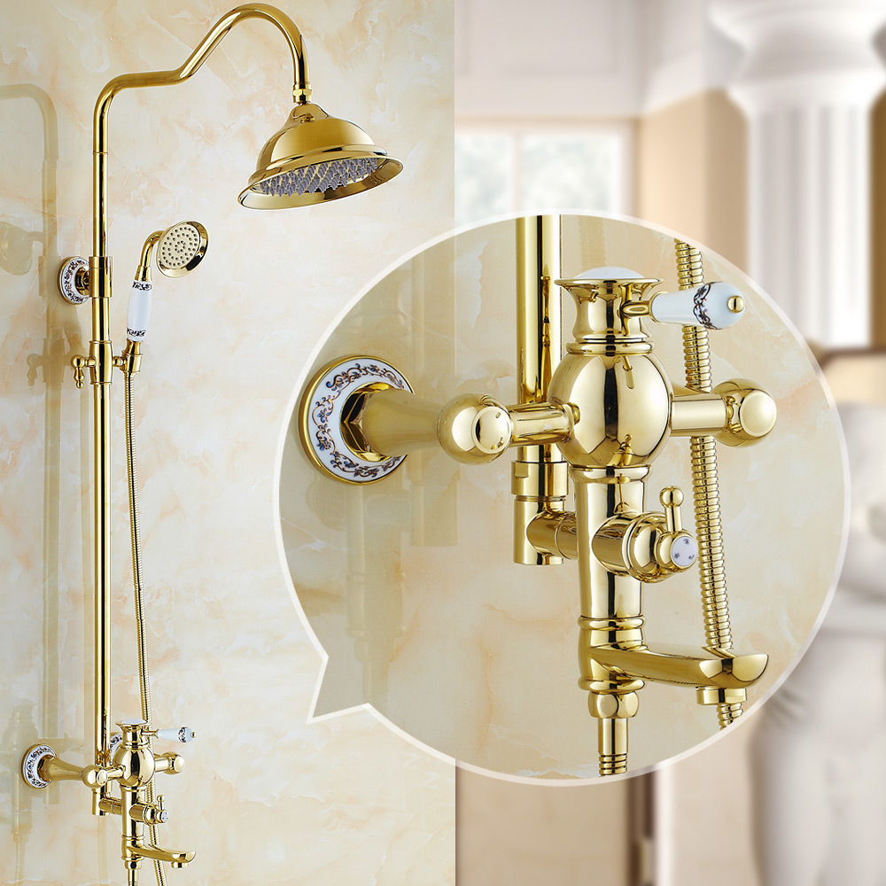 AUSWIND polish Golden Shower Set Antique Brass Bathroom Faucet 8 Inch Rainfall Shower Head Ceramic Bathroom Accessories