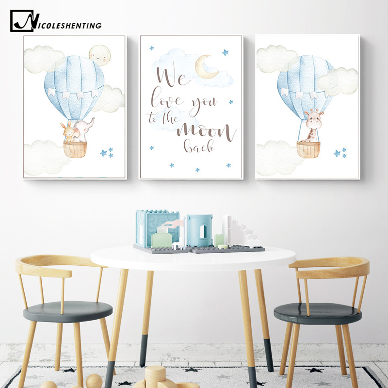 Child Poster Blue Balloon Animal Giraffe Wall Art Canvas Nursery Quotes Print Nordic Kid Bedroom Decoration Picture Painting