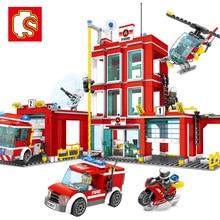 Legoings 603037 958pcs City Series The Fire Station Building Blocks DIY Kids Assemble Building Block Brick Toys Children Gifts недорого