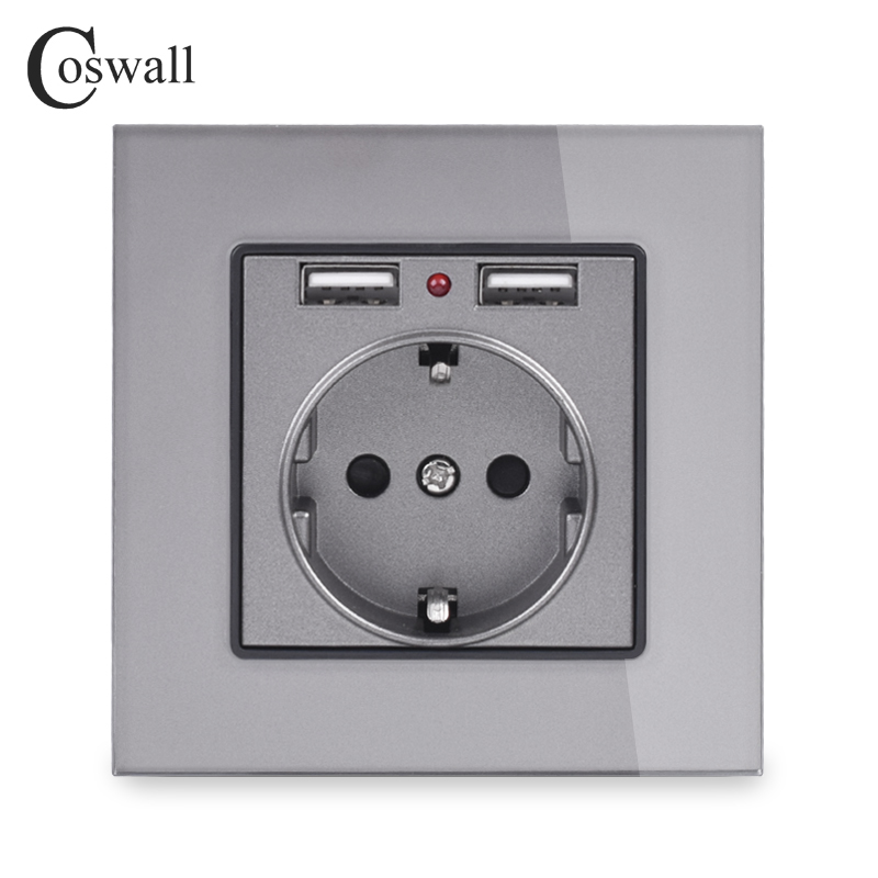 Coswall Crystal Glass Panel Dual USB Charging Port 2.1A 16A Russia Spain Wall Socket EU Power Outlet White/Black/Gold/Grey
