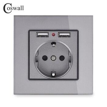 Coswall kryształ szklany Panel podwójny Port USB do ładowania 2.1A 16A rosja hiszpania gniazdo ścienne ue listwa sieciowa biały/czarny/złoty /szary
