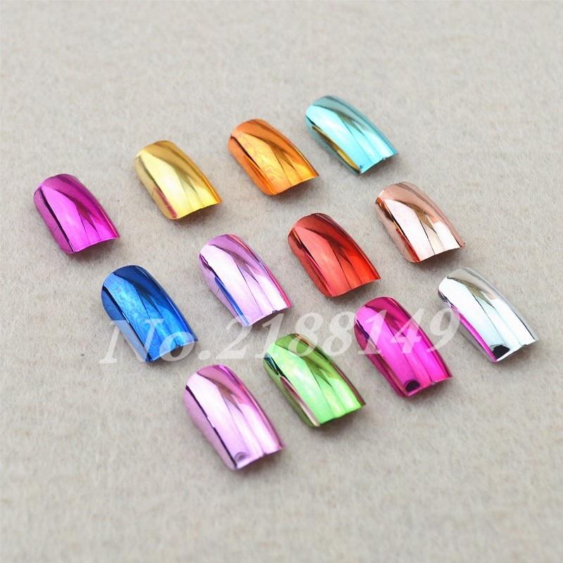 144 UNIDS 12 Metallic Color de Chapado de Metal Uñas Postizas ...