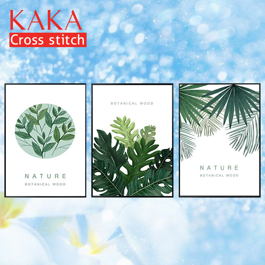 Kits de point de croix KAKA ensembles de broderie, 5D bricolage peintures scéniques, salle de décoration, broderie 11CT, trilogie de plantes simples