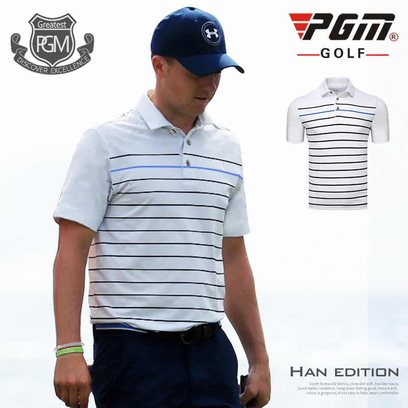 PGM Golf polo Shirts Spring Summer Mens Short Sleeve Striped T-shirt Soft Breathable Milk Silk Golf Sportswear tops
