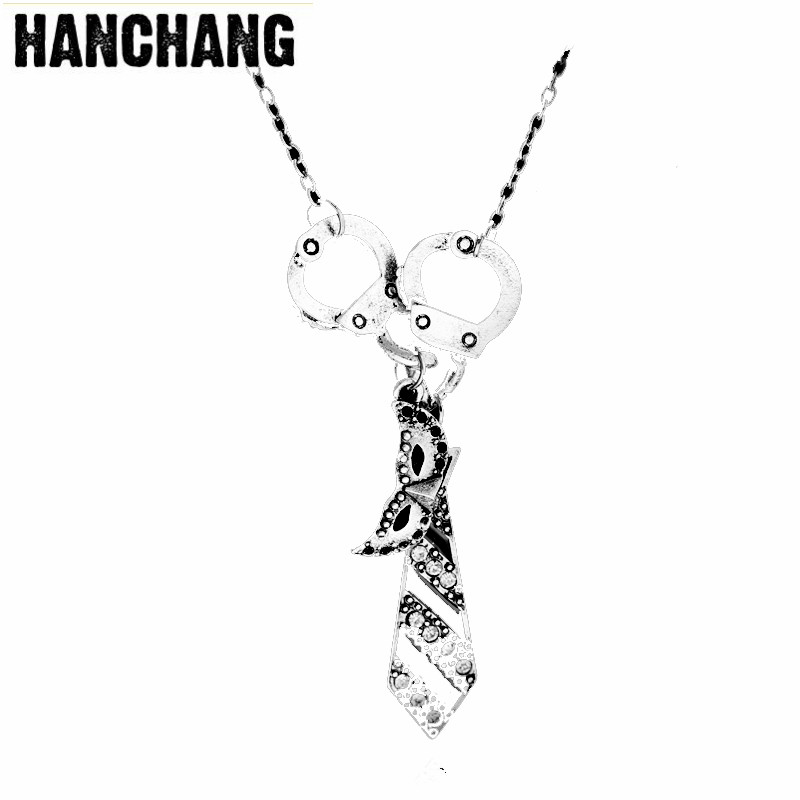 Women Fashion Fifty Shades of Grey Darker Freed Christian Charm Necklace Handcuffs Masquerade Mask Necktie Pendant Necklace