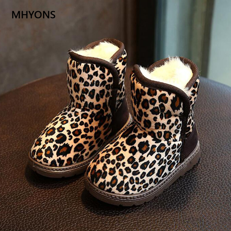 MHYONS 2018 New Kids Boots Fashion Winter Boys Girls Snow Boots Children Martin Boots Baby Cute Leopard Pattern Rubber Shoes