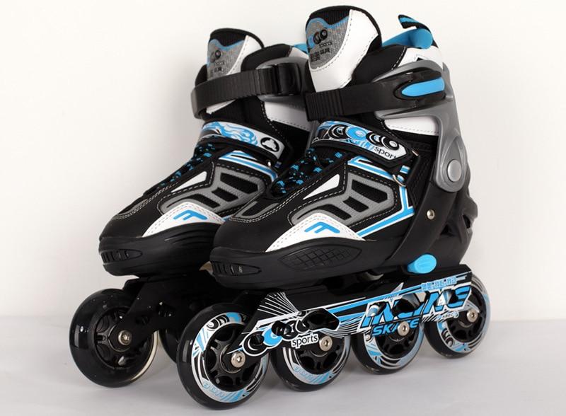 Prix pour Frais Professionnels Enfants Adolescents Inline Chaussures De Patinage Réglable Lavable PU Roues De Patins À Glace