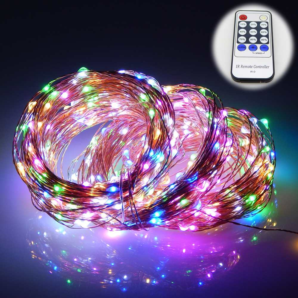 165Ft 50m 500 Leds 8 Colors Copper Wire LED String Lights Starry Lights Christmas Fairy lights