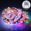 165Ft/50m 500 Leds 8 Colors Copper Wire LED String Lights Starry Lights Christmas Fairy lights+12V Power Adapter+Remote Control