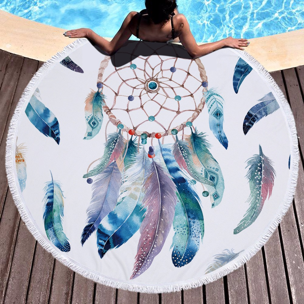 2018 Hot Round Beach Towel With Tassels Soft Microfiber 150cm Multi-Color Summer Towel For Beach Plumage Printed Plage Serviette