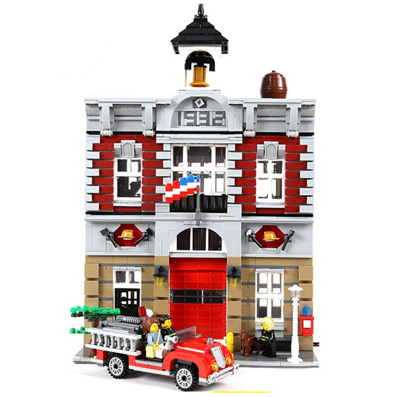 Lepin Diy City Creator Fire Brigade Model Building Kits Blocks Bricks Toys Compatible with Legoingly 10197 for Children Gifts 1000pcs diy city creative building blocks bricks educational toys compatible with legoingly bricks for children gifts