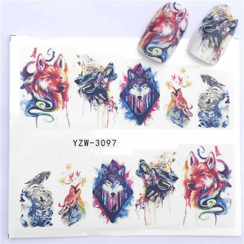 Nail Sticker Water Decals Wolf roar Snake Nail Slider Art design Decoration Manicure Foil Adhesive Wraps Tools Polish Pegatinas