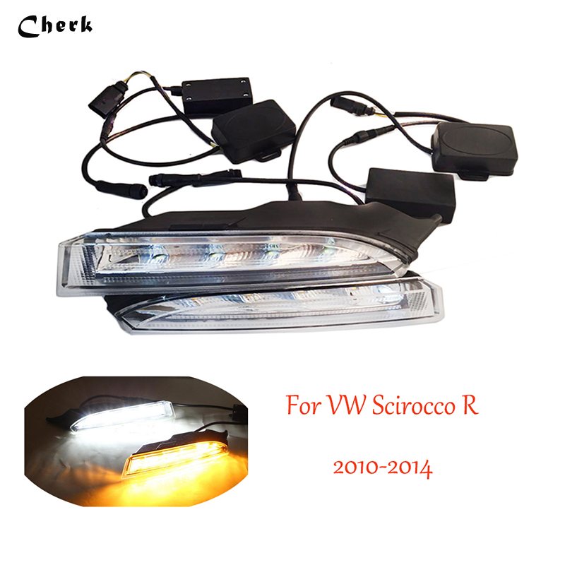 Day Light White LED Daytime Running Lights DRL Yellow Turn Signal Light For Volkswagen VW Scirocco R 2010 2011 2012 2013 2014 1set car accessories daytime running lights with yellow turn signals auto led drl for volkswagen vw scirocco 2010 2012 2013 2014