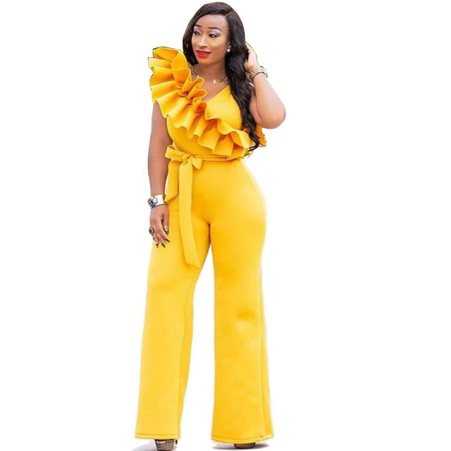 a505b225909 One Shoulder Scuba Ruffles Wide Leg Jumpsuit Yellow Sleeveless Belted One  Piece Overalls Women Plus Size Long Office Catsuit