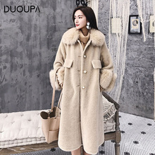 DUOPA Winter  Fashion womans coat women sheepskin womens fur real wool shearling fox hooded