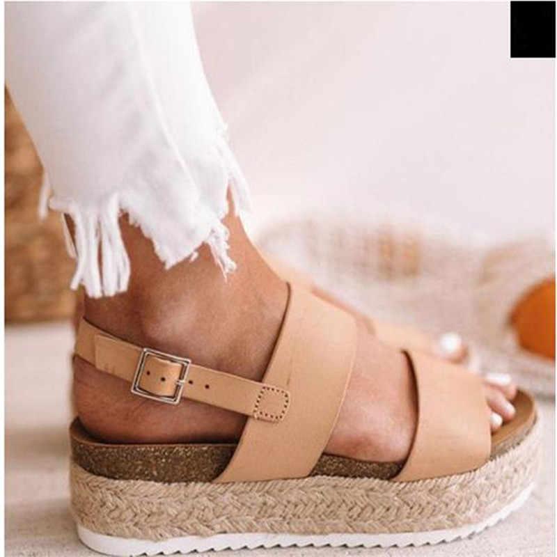 Zapatos de playa de verano para mujer con plataforma Sandalias planas de Mujer Sandalias de gladiador para mujer Sandalen Beige negro