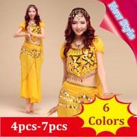 New Style Belly Dance Costume Bellydance Clothesbelly Dance Set Indian Dance Wear 4pcs 7pcs 6 Colors