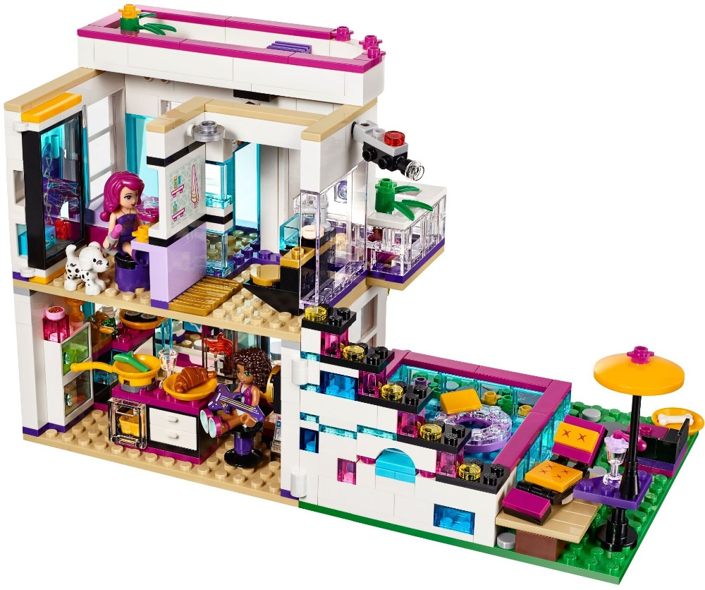 Neue 619 stücke Freunde Serie Livi der Pop Star Haus Bausteine Andrea mini-puppe figuren Spielzeug Kompatibel mit Legoe Freunde