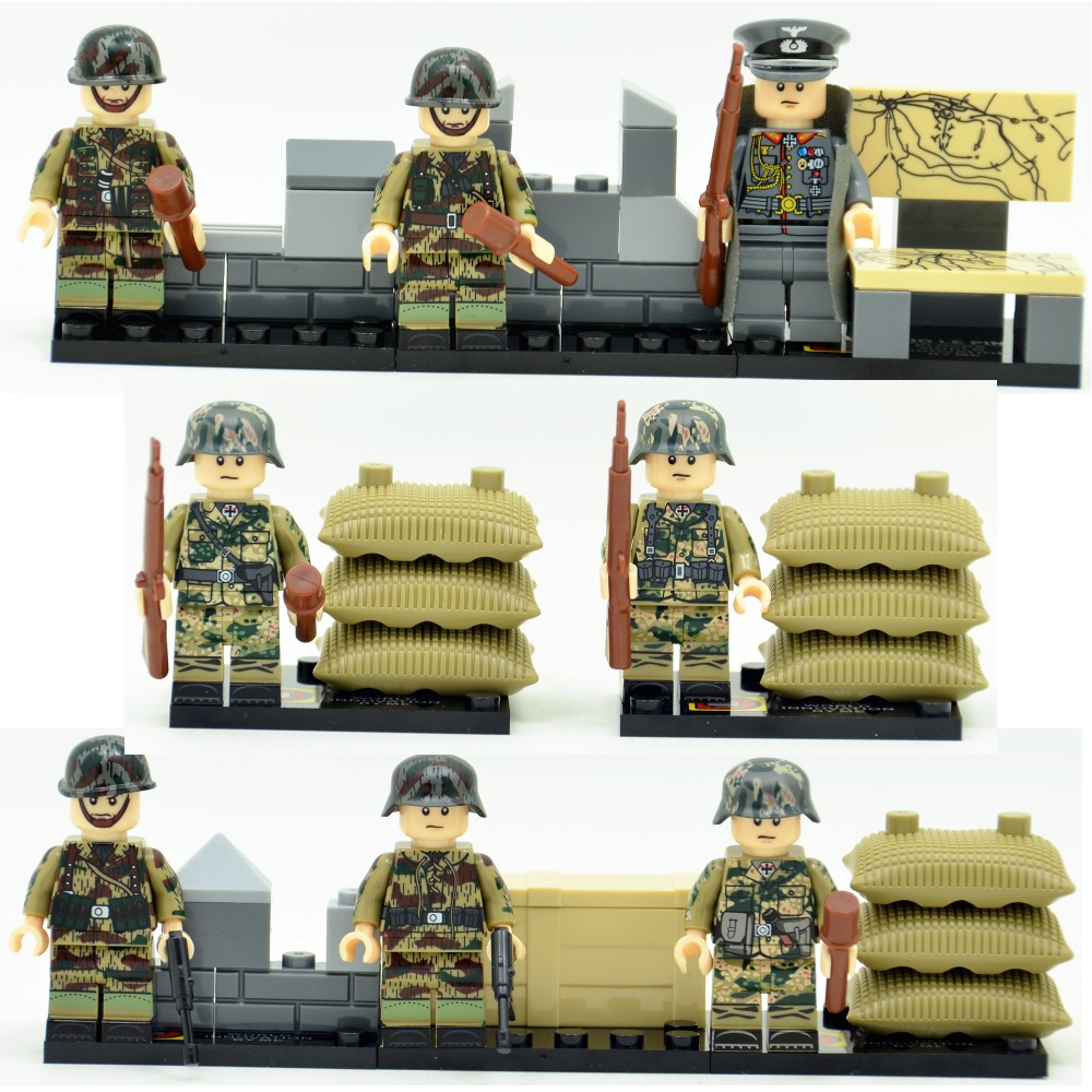 8pcs German Army World War 2 Military Weapon SWAT Soldier Gun Marine Corps Building Blocks Brick Figures Boy Toys Gift Children