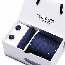 2019 Men`s Tie Gift Box Pack 100%Silk Jacquard Woven Necktie Hanky Cufflinks&clips Sets For Formal Wedding Business Party