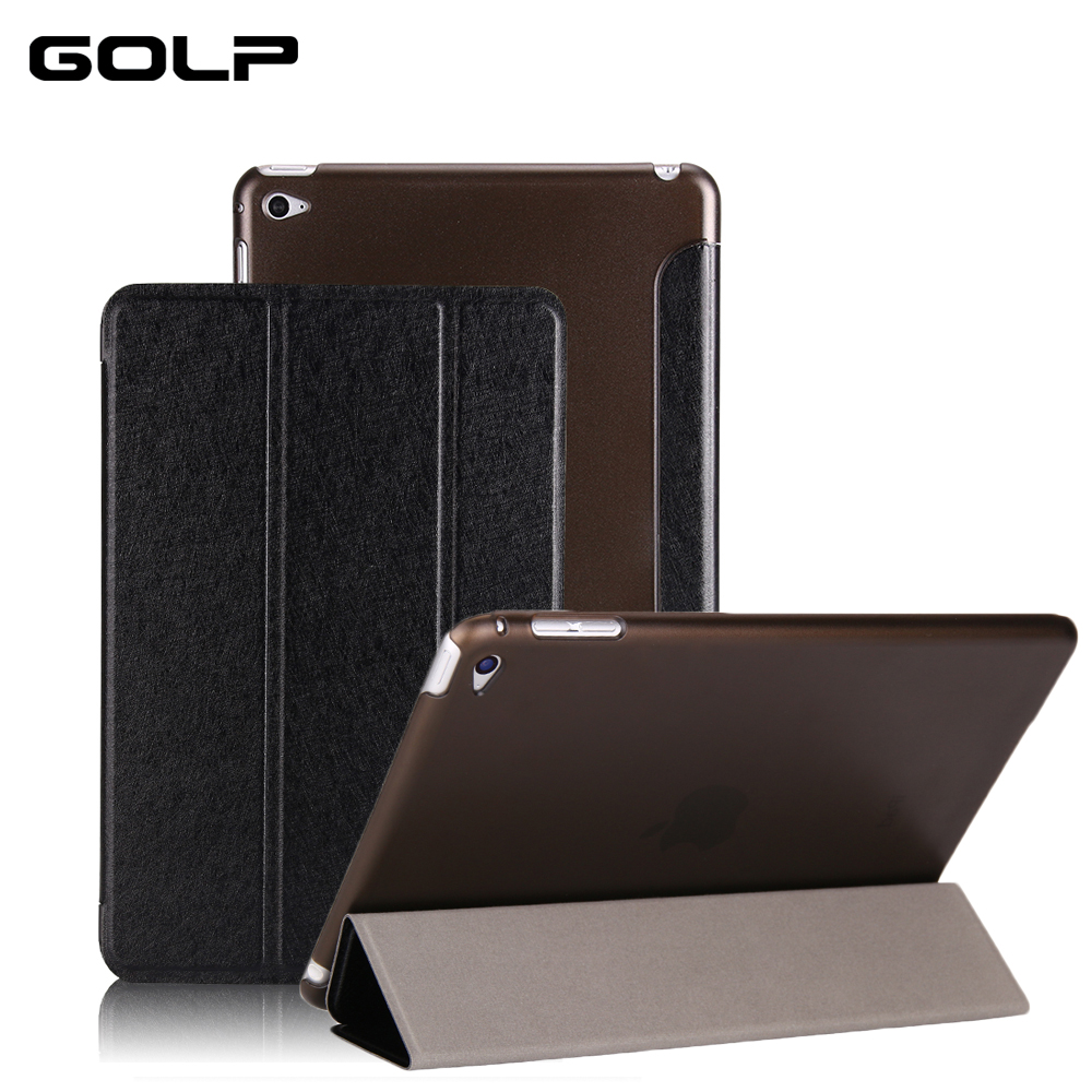 for ipad mini 4 case, GOLP wake up & sleep PU Leather smart cover Hard PC back cover for ipad mini 4 stand flip case for A1538