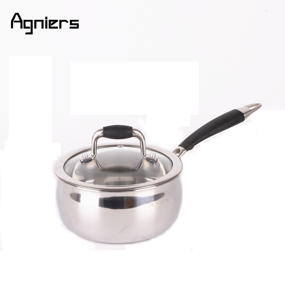 Agniers 16cm Multi-Ply Stainless-Steel Single handle Milk pan with Glass Lid 1.5 Quart Sauce Pan Cooking Tool Cookware