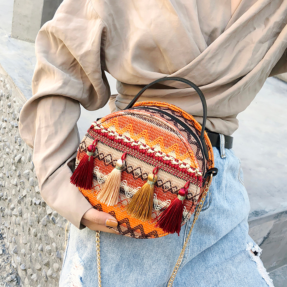 Women Tassel Chain Small Bags national wind round bag packet Lady Fashion Round Shoulder Bag Bolsos Mujer#A02 90