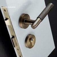 Promo 1 Juego de manija de puerta moleteada texturizada con cerradura de latón manillar mecánico duradero para