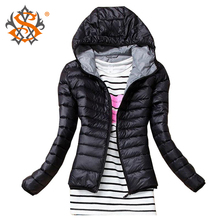 2015 Autumn Winter Women Basic Sport Jacket Coat Female Slim Hooded Brand Cotton Coats Casual Black Jackets